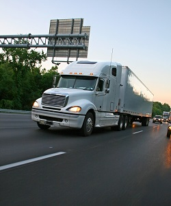 tractor trailer on the highway
