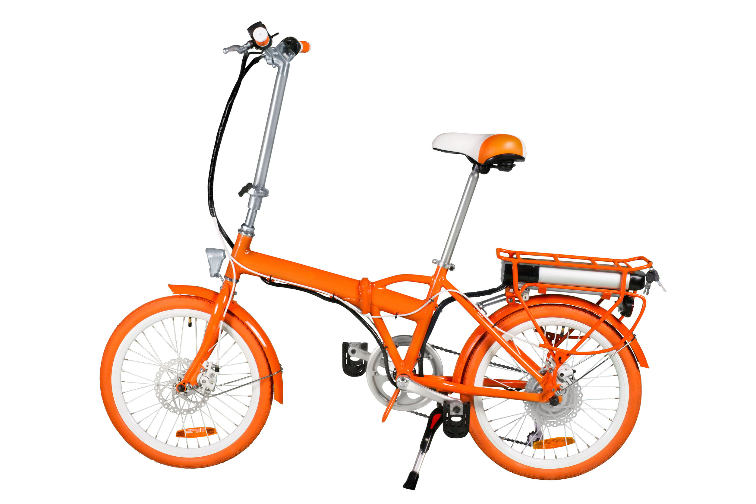 Orange folding electric bike isolated on a white background with a full clipping path